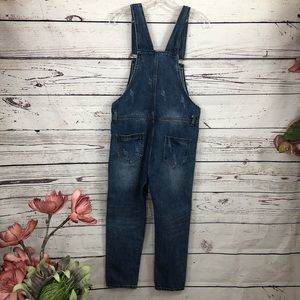 boutique Jeans - Boutique Distressed Trendy Ankle Overall Crops